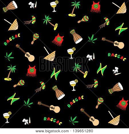 Rastafarian pattern. Vector cartoon Jamaica elements background