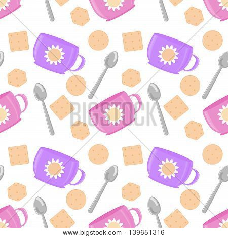 Tea time cute seamless pattern. Sweet vector pattern great for textile, wallpaper, pattern fills, web page backgrounds, surface textures