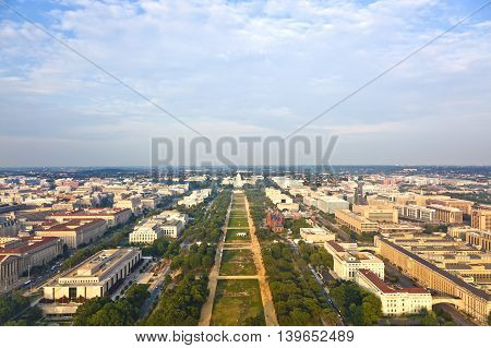View To Capitol Hill Over The Mall