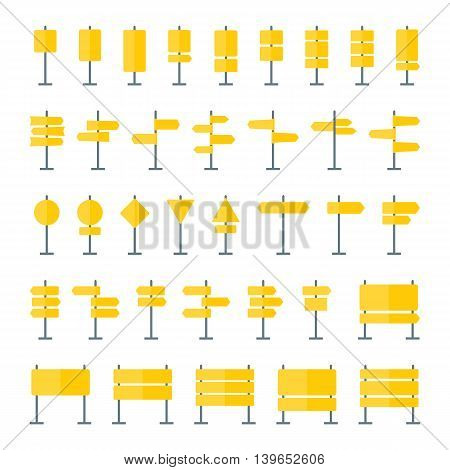 Road signs boards and pointers flat icons. Set of 36 signpost icons isolated on white background. Blank guide sign templates in yellow colors for navigational text. EPS8 clean vector illustration.