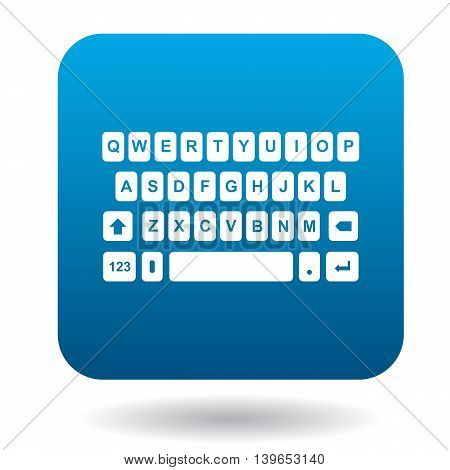 Keyboard icon in flat style in blue square. Device symbol