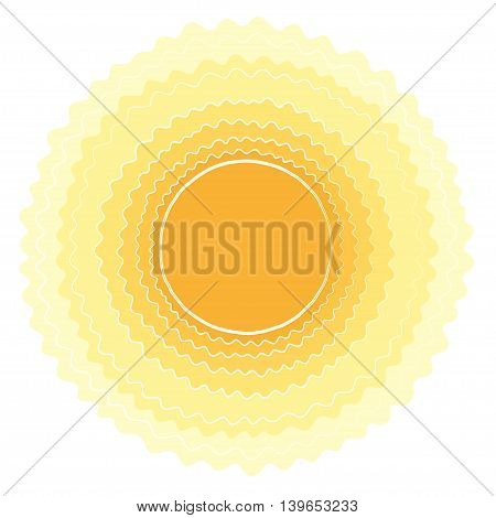 Sun vector background. Yellow sunny frame. Vector paper illustration.
