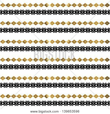 Tribal geometric gold pattern. Aztec and Navajo gold ornament. Tribal gold tattoo. Aztec flash tattoo. Vector ink illustration