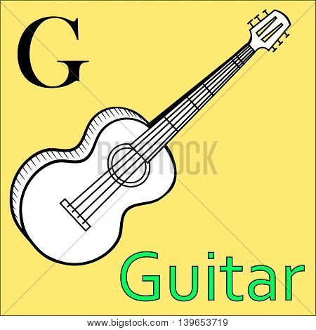 G letter. Object capital alphabet. Colorful font. Uppercase. Musical instrument. Worksheet, Exercises for kids, Coloring book. Illustration of alphabet letters with beautiful clip arts guitar