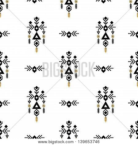 Tribal gold ornament. Ethnic and Aztec pattern. Aztec flash tattoo. Tribal gold abstract geometric elements. Vector illustration