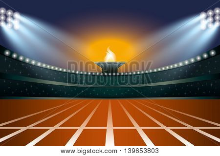 Athletics Stadium With Track At General Front Night View. Vector Illustration