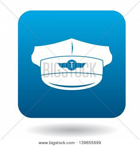 Cap taxi driver with cockade icon in flat style on a white background