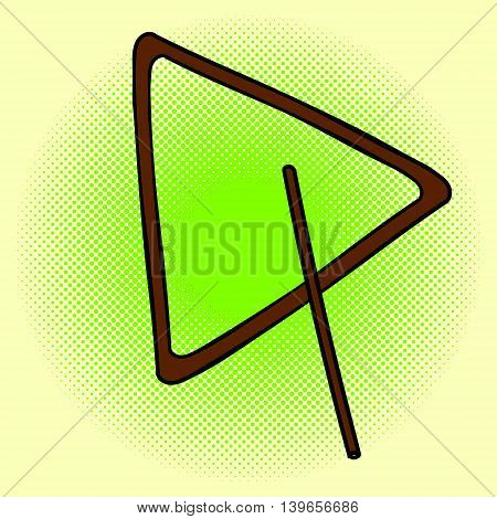 Triangle pop art vector illustration. Beautiful style comic. Hand-drawn musical instrument.