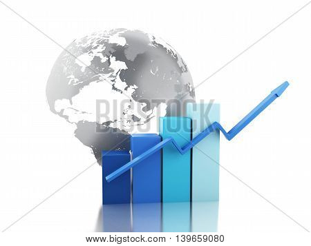3d renderer image. Growth chart with globe. Business and economy concept. Isolated white background.
