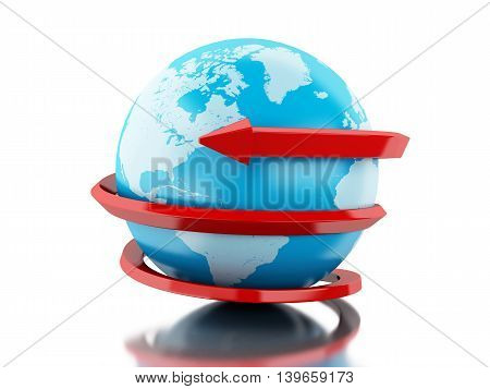 3d renderer image. Globe with red arrow circle around. Isolated white background.
