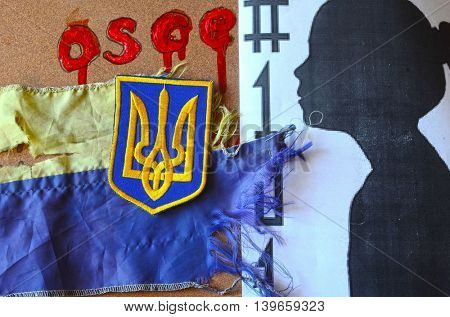 ILLUSTRATIVE EDITORIAL.Chevron of Ukrainian army.Ukraine kill 101 kids of Donbass.Civil War in Ukraine.July 22 ,2016 in Kiev, Ukraine