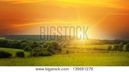 summer field, sun rise and blue sky
