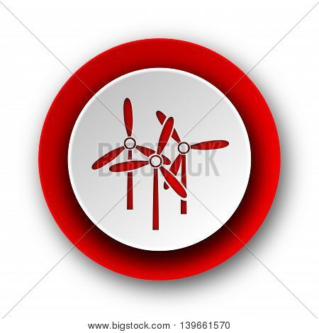 Windmill Red Modern Web Icon On White Background