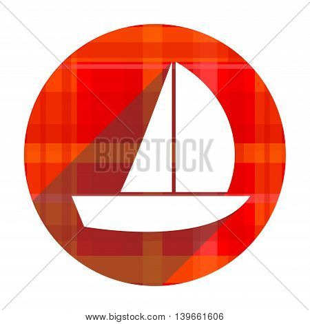 yacht red flat icon isolated on white background