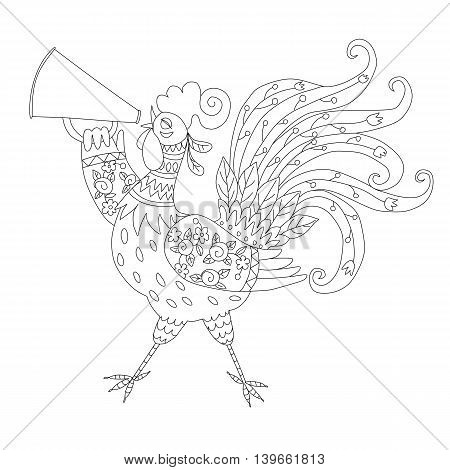 Coloring book with rooster - chinese symbol of 2017 year. Vector illustration.