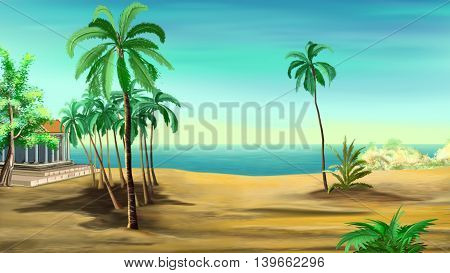 several palm trees on the shore of the Mediterranean Sea. Cartoon Style Character Fairy Tale Story Background.