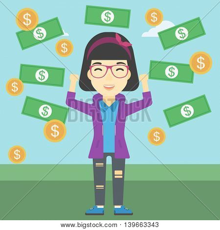 An asian business woman with raised hands standing under money rain. Successful business concept. Vector flat design illustration. Square layout.