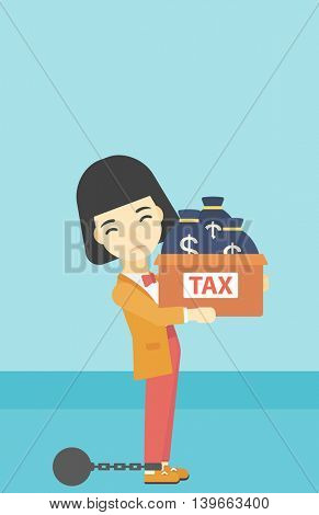 Chained to a large ball an asian business woman carrying heavy box with bags full of taxes. Vector flat design illustration. Vertical layout.