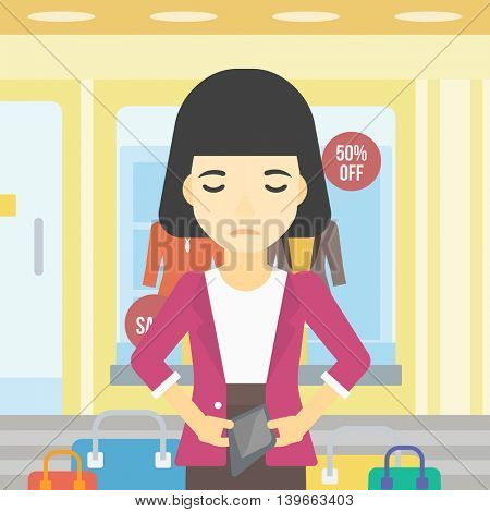 An asian young woman showing her epmty wallet on the background of showcase of a store. Bankruptcy concept. Vector flat design illustration. Square layout.