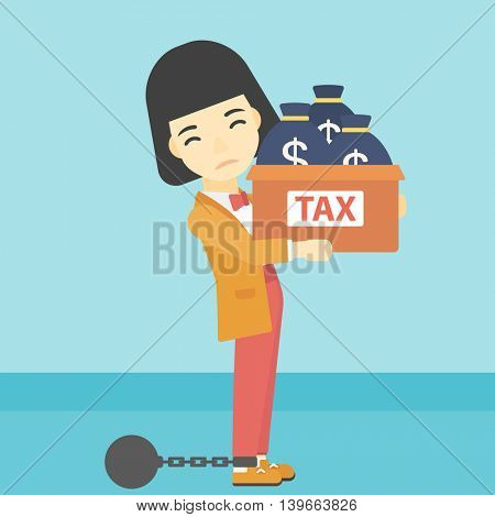 Chained to a large ball an asian business woman carrying heavy box with bags full of taxes. Vector flat design illustration. Square layout.