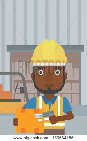 An african-american warehouse worker scanning barcode on box. Warehouse worker checking barcode of box with a scanner. Man in hard hat with scanner. Vector flat design illustration. Vertical layout.