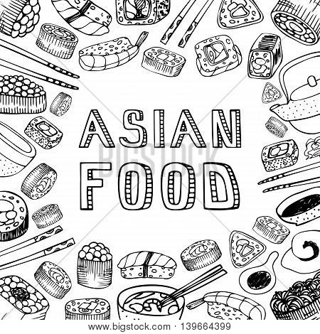Asian food background. Asian food poster. Asian food menu restaurant. Asian food sketch menu.Vector illustration
