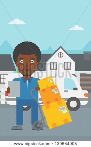 An african-american delivery man with cardboard boxes on troley. Delivery man with clipboard. Man standing in front of delivery van. Vector flat design illustration. Vertical layout.
