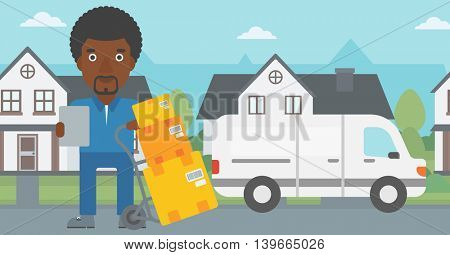 An african-american delivery man with cardboard boxes on troley. Delivery man with clipboard. Man standing in front of delivery van. Vector flat design illustration. Horizontal layout.