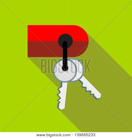 Keys on keychain icon in flat style with long shadow. Accessories symbol
