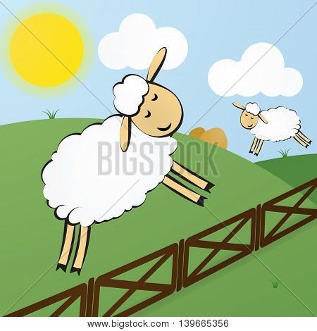 Funny Vector Cute Cartoon White Ship Jumps Over The Fence