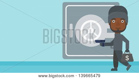 An african-american burglar in mask near the big safe door. Burglar holding hand gun and a bag with dollar sign. Thief stealing money. Vector flat design illustration. Horizontal layout.