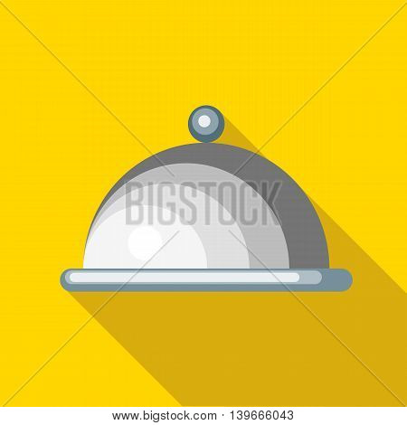 Tray with lid icon in flat style with long shadow. Dishes symbol