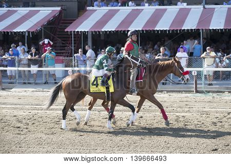 SARATOGA SPRINGS, NY - July 22: Sweet Loretta in the Post Parade for the 98th runniing of the Schulerville Stakes for 2 year old Fillys on July 22 in Saratoga Springs, NY.