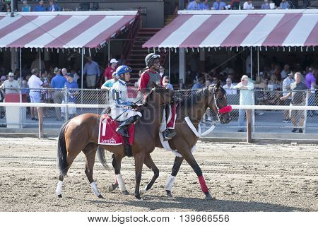 SARATOGA SPRINGS, NY - July 22: Olive Branch in the Post Parade for the 98th runniing of the Schulerville Stakes for 2 year old Fillys on July 22 in Saratoga Springs, NY.