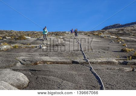 Ranau,Sabah Borneo-March 13,2016:Group of climbers move down to Laban Rata after succesfully completed conquering the summit of the majestic mountain Kinabalu,which the highest mountains in Asean.