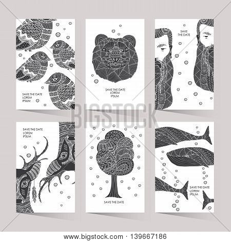 Cards with a trendy hipster print. Set creative cards. Hipster style for invitation, business contemporary design. Illustration in the style of ethno, tribal, aztec, boho.