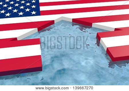 home icon in the water textured by USA flag. 3D rendering