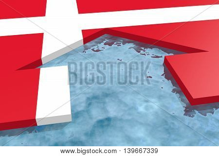 home icon in the water textured by Denmark flag. 3D rendering
