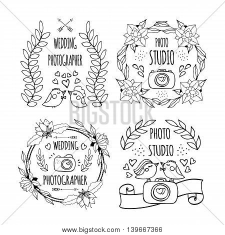 The hand drawn elements to create a logo photography, logo photo studio, logo studio photographer, logo wedding photos, logo family photos. Vector illustration