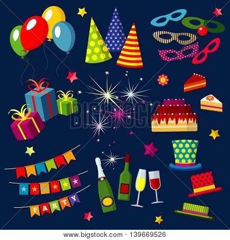 Celebration, happy birthday, party, carnival, festive vector icons set with balloons, cake, gift, fireworks, sparkler. Objects for celebration and party, illustration colorful accessories for party