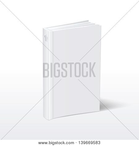Blank vertical white softcover book standing on table perspective view. Mockup book for education and publish, vector book with hardcover illustration