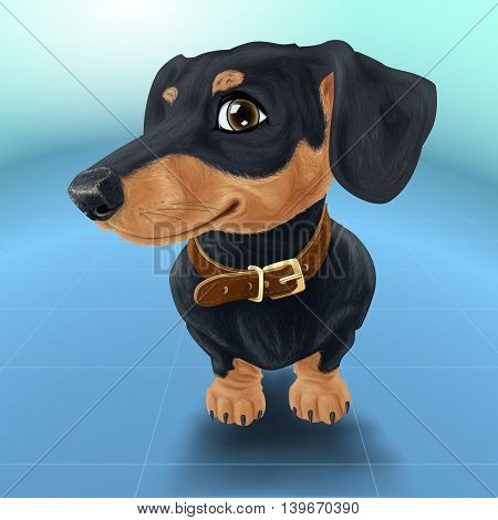 Happy smiling dog isolated realistic vector illustration. Satisfied dachshund in collar. poster