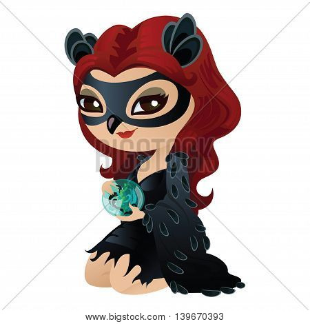 Charming fortuneteller in pin-up style. Witch isolated on white background. Beautiful character for Halloween in cartoon style. Vector illustration.