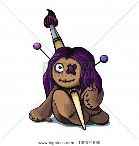 Cute cartoon character voodoo doll. Cute cartoon character for your design.