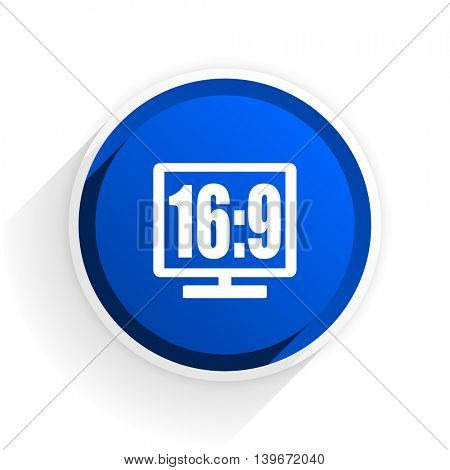 16 9 display flat icon with shadow on white background, blue modern design web element