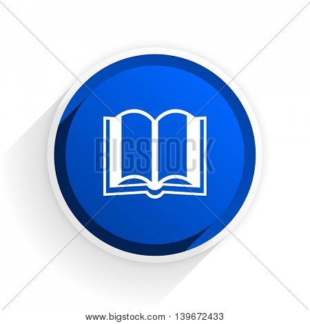 book flat icon with shadow on white background, blue modern design web element