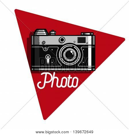 Color vintage photographer emblem. Vector design elements, business signs, logos, identity, labels, badges and other branding objects for your business. Vector illustration
