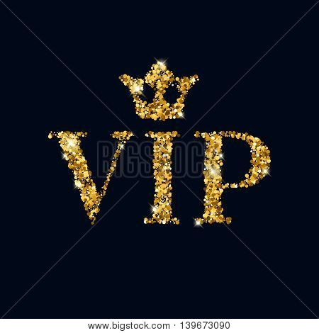 VIP abstract golden glow glitter background with crown. Good for invitation greeting card, luxury vip advertising banner poster flyer cover design.