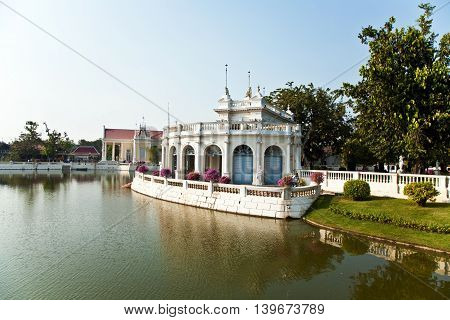 beautiful teahouse in the Sommerpalace Bang Pa In of the King of Thailand near Ajuttaya poster