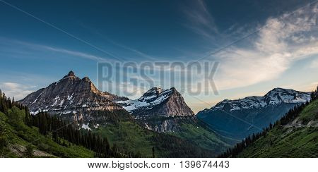 Panorama of Oberlin Clements and Cannon Mountains in the Montana Rockies